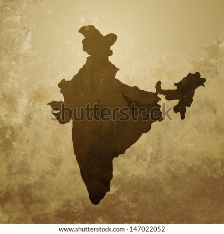 vector indian map design illustration - stock vector