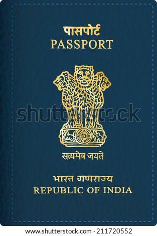 vector Indian passport cover - stock vector