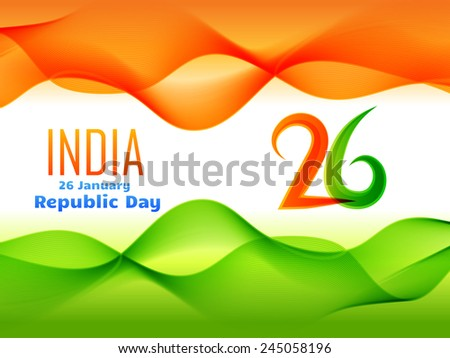 vector indian  republic day design celebrated on 26 january made in wave style illustration  - stock vector