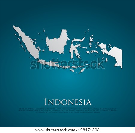vector Indonesia Map card paper on blue background, high detailed - stock vector