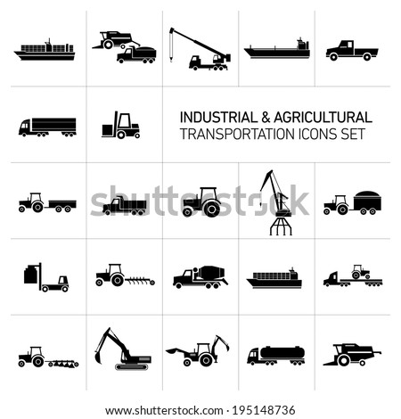vector industrial and agricultural icons set | modern flat design abstract illustration collection black isolated on white background - stock vector