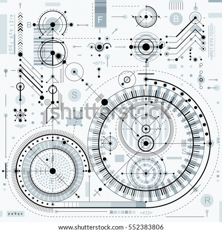 Vector industrial and engineering background, future technical plan. Perspective blueprint of mechanism, mechanical scheme. For use as website background.
