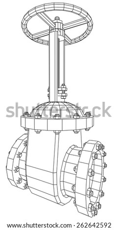 Vector industrial equipment oil and gas valve. EPS 10. Tracing illustration of 3d. - stock vector