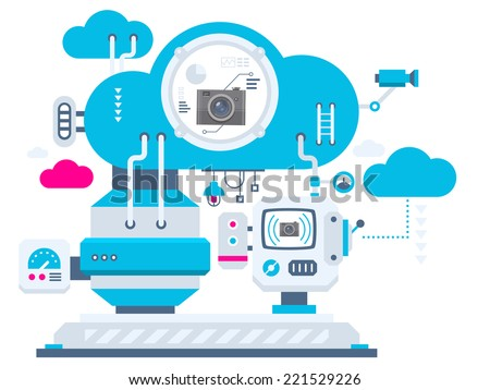 Vector industrial illustration background of the cloud technology cameras. Color bright flat design for banner, web, site, advertising, print, poster. - stock vector