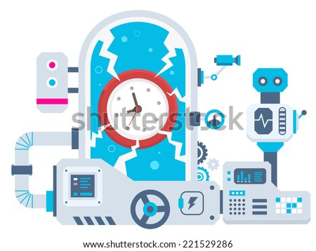 Vector industrial illustration background of the factory for clock. Color bright flat design for banner, web, site, advertising, print, poster. - stock vector
