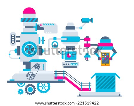 Vector industrial illustration background of the factory for packing phone. Color bright flat design for banner, web, site, advertising, print, poster. - stock vector