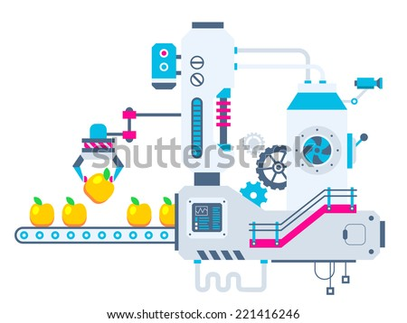 Vector industrial illustration background of the factory for sorting apples. Color bright flat design for banner, web, site, advertising, print, poster. - stock vector