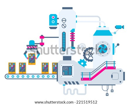 Vector industrial illustration background of the factory for sorting phones. Color bright flat design for banner, web, site, advertising, print, poster. - stock vector