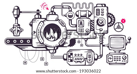 Vector industrial illustration background of the operating mechanism. Assembly, roasting, monitoring. Line Art  - stock vector