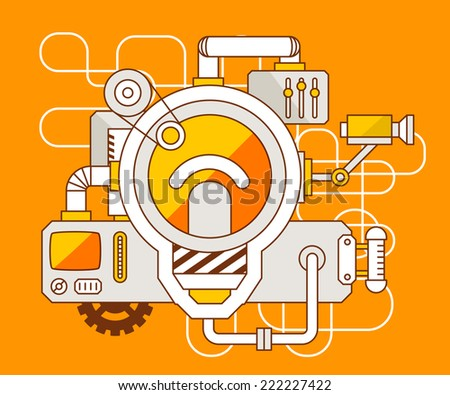 Vector industrial illustration of the mechanism of light bulb. Yellow color line art and flat design for banner, print, poster, sticker, advertising - stock vector