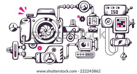 Vector industrial illustration of the mechanism of photo camera. Line art design for banner, print, poster, sticker, advertising - stock vector