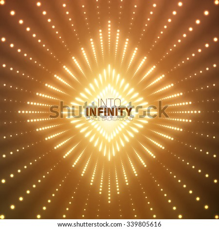 Vector infinite rhombic or square tunnel of shining flares on orange background. Glowing points form tunnel sectors. Abstract cyber colorful background for your designs. Elegant geometric wallpaper. - stock vector