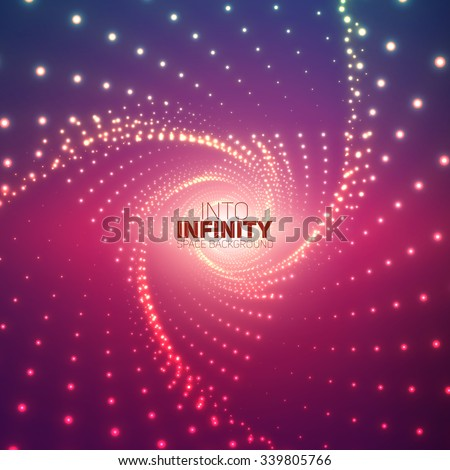 Vector infinite triangular twisted tunnel of shining flares on violet background. Glowing points form tunnel sectors. Abstract cyber colorful background. Elegant modern geometric wallpaper. - stock vector