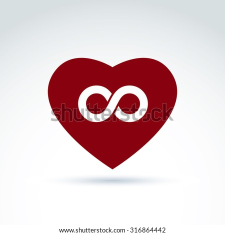 Vector infinity icon, eternal life idea.  Illustration of an eternity symbol placed on red heart, love forever concept. - stock vector
