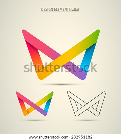 Vector infinity origami design elements isolated on white. Abstract logo elements set - stock vector