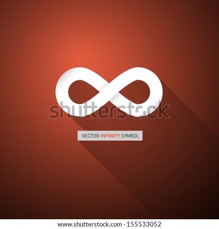 Vector Infinity Symbol on Dark Red Background  - stock vector