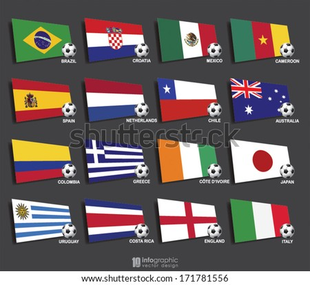 vector info graphic flags - football 2014 - stock vector