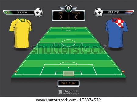 vector info graphic football field statistics - stock vector