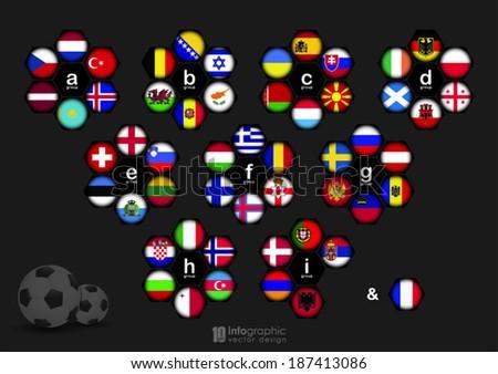 vector info graphic groups football 2016 - stock vector