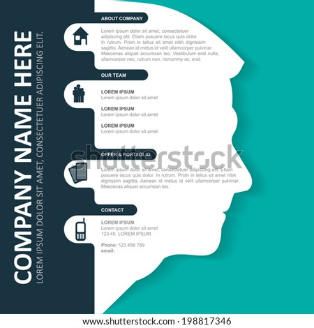 Vector infographic background with silhouette of head, contact icons and a place for text content. Can be used for brochures, posters, flyers and other prints. - stock vector