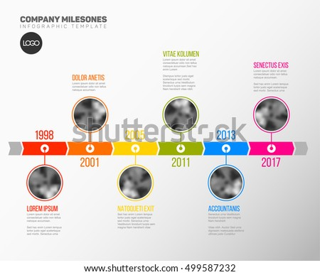 Vector Infographic Company Milestones Timeline Template with circle photo placeholders on colorful line