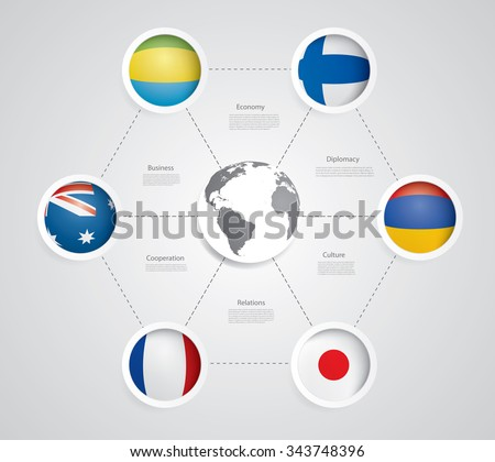Vector infographic composition with flags. - stock vector