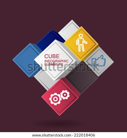 Vector_infographic_elements_cube - stock vector