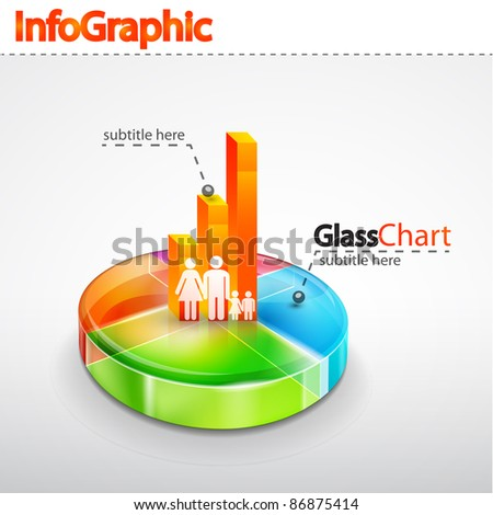 Vector infographic glass icon - stock vector