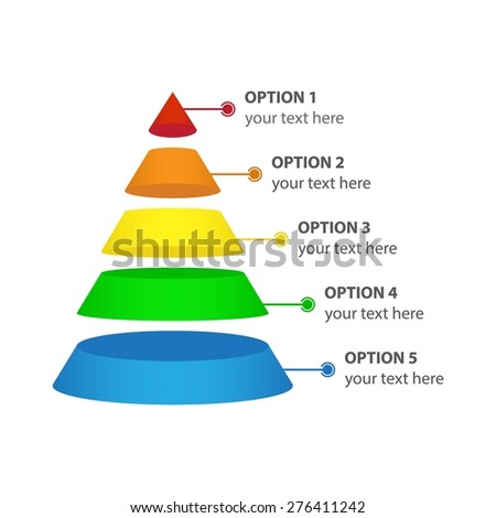 Vector Infographic of Marketing Pyramid, isolated on white - stock vector