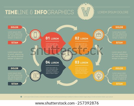 Vector infographic of technology process. Web Template for circle diagram or presentation. Business concept with 4 options. - stock vector