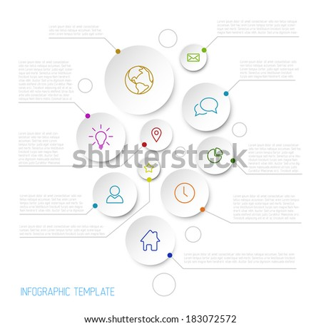 Vector Infographic report poster with circles and line icons - stock vector