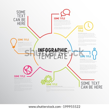 Vector Infographic report template made from lines and icons - stock vector