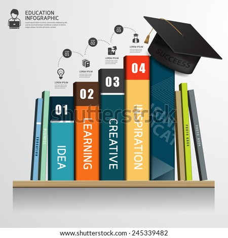 Vector infographic success education concept Row of books and graduation cap on shelf - stock vector