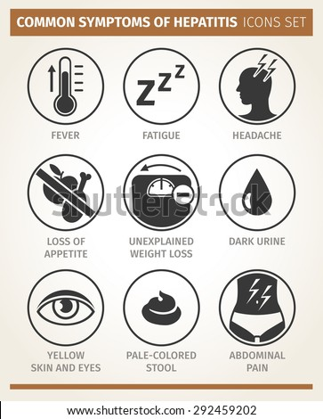 Vector  infographic. symptoms of hepatitis. icon set - stock vector