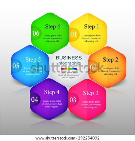 Vector infographic. Template for diagram, graph, presentation and chart. Business concept with 6 options, parts, steps or processes.  - stock vector