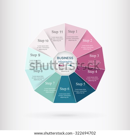 Vector infographic. Template for diagram, graph, presentation and chart. Business concept with 11 options, parts, steps or processes.  - stock vector