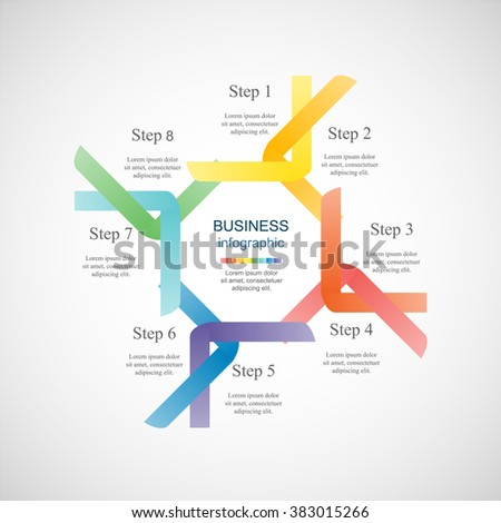 Vector infographic. Template for diagram, graph, presentation and chart. Business concept with 8 options, parts, steps or processes.
