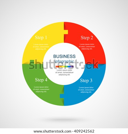 Vector infographic. Template for diagram, graph, presentation and chart. Business concept with 4 options, parts, steps or processes.  - stock vector