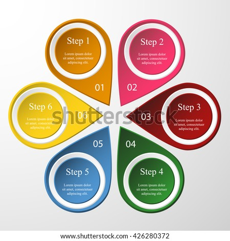 Vector infographic template for diagram, graph, presentation and round chart. Business concept with 6 options, parts, steps or processes.  - stock vector