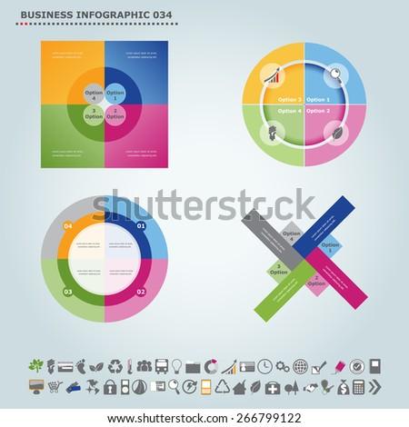Vector infographic template : Infographic, infochart , diagram & flowchart design for presentation & business (Part 34) - stock vector