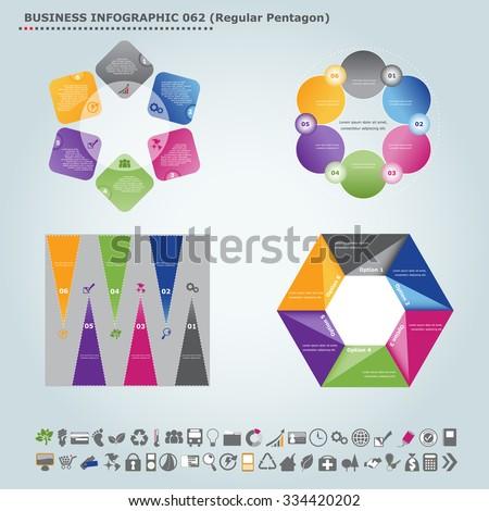 Vector infographic template (regular pentagon): Infographic, infochart , diagram & flowchart design for presentation & business (Part 62) - stock vector