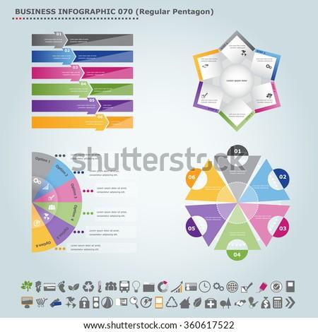 Vector infographic template (regular pentagon): Infographic, infochart , diagram & flowchart design for presentation & business (Part 70) - stock vector