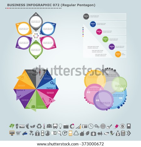Vector infographic template (regular pentagon): Infographic, infochart , diagram & flowchart design for presentation & business (Part 72) - stock vector