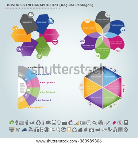 Vector infographic template (regular pentagon): Infographic, infochart , diagram & flowchart design for presentation & business (Part 73) - stock vector