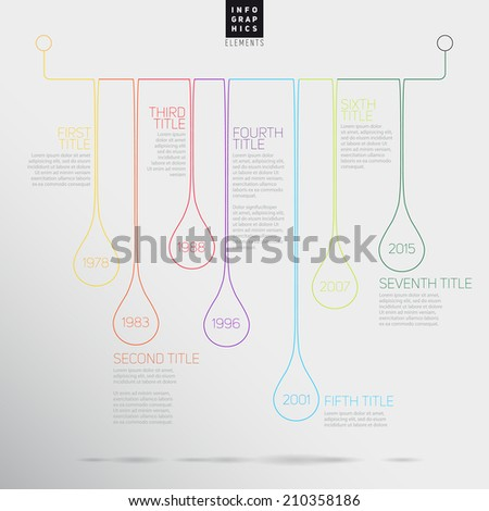 Vector Infographic timeline report template with colorful bubbles - stock vector
