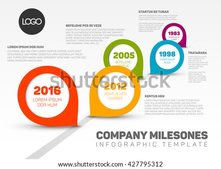 Vector Infographic timeline with Company Milestones and colorful pointers.