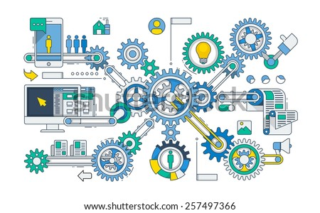 vector infographic with gears and cog wheels - stock vector