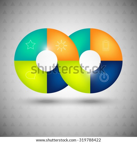 Vector infographic with icons, impossible circles, abstract background, business background, circles background, website element, impossible shapes