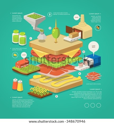 vector infographic with layered sandwich - stock vector