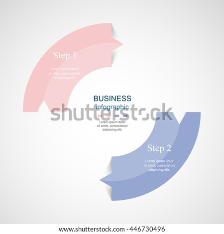 Vector infographic with pantone colors of the year 2016 Rose Quartz and Serenity. Template for diagram, graph, presentation and chart. Business concept with 2 options, parts, steps or processes.  - stock vector